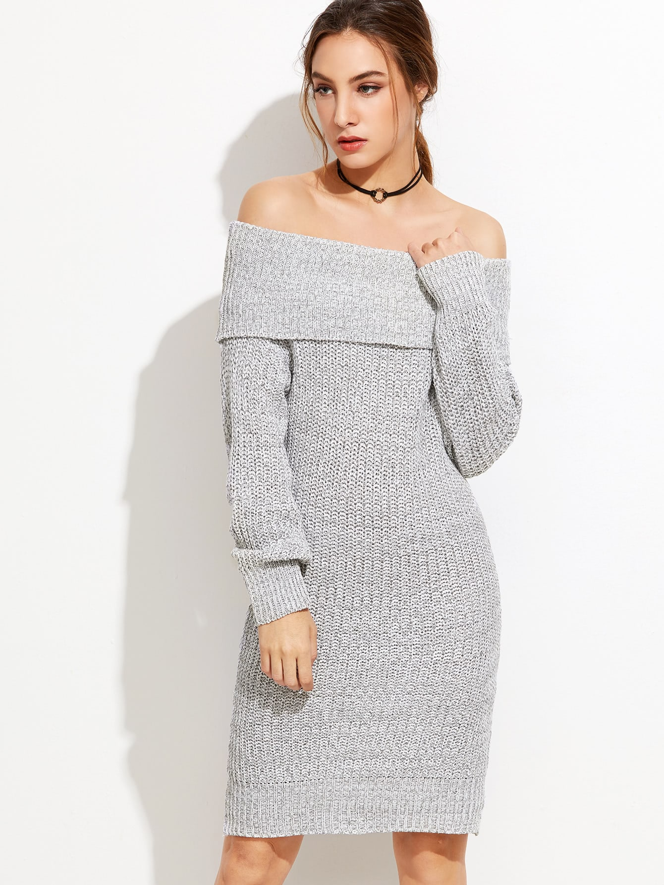 2b5d4ace16b Grey Off The Shoulder Foldover Sweater Dress