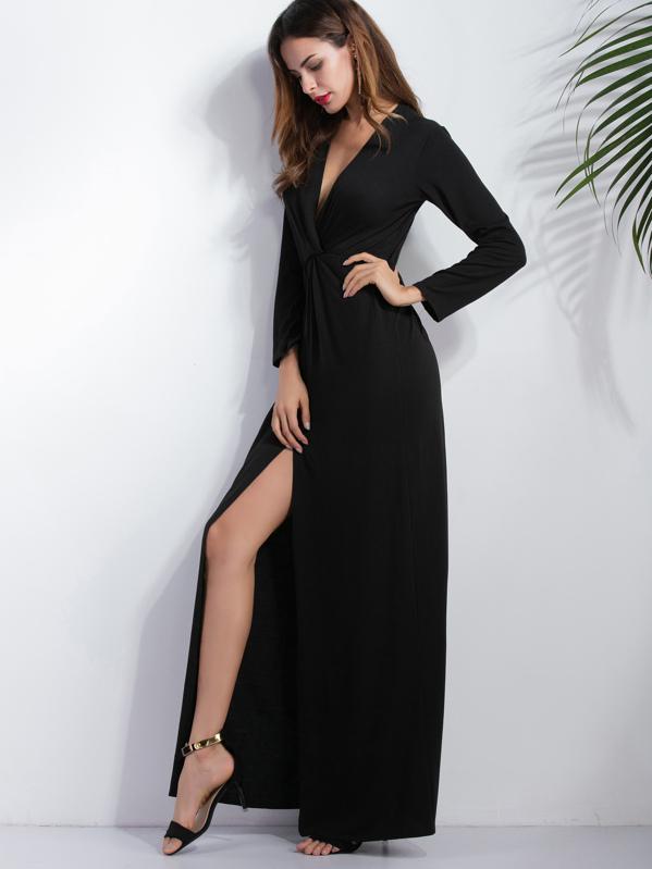 2c5105183c0a Vestido maxi escote V profundo con abertura - negro