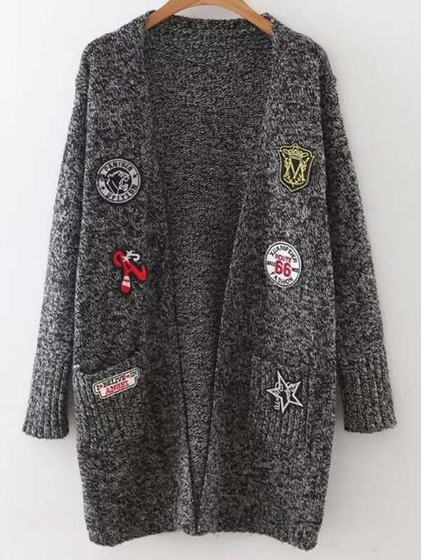 Mixed Patch Marled Knit Long Cardigan With Pockets, Grey