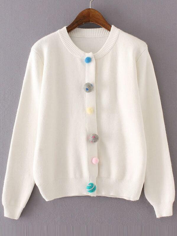 3ce3e79558c7 Veste tricoté à nervures avec bouton en pompon - blanc -French  SheIn(Sheinside)
