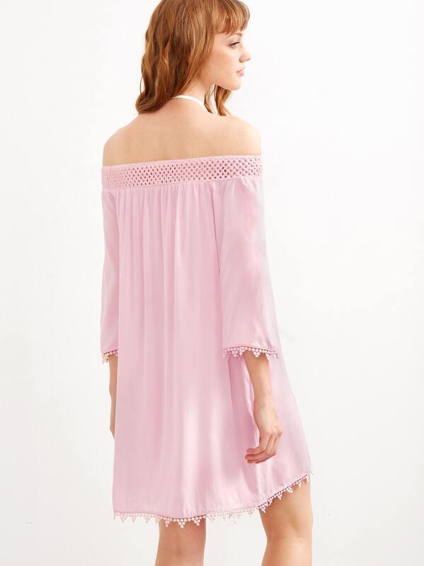 113c59a1b0 Pink Off The Shoulder Crochet Trim Dress | SHEIN