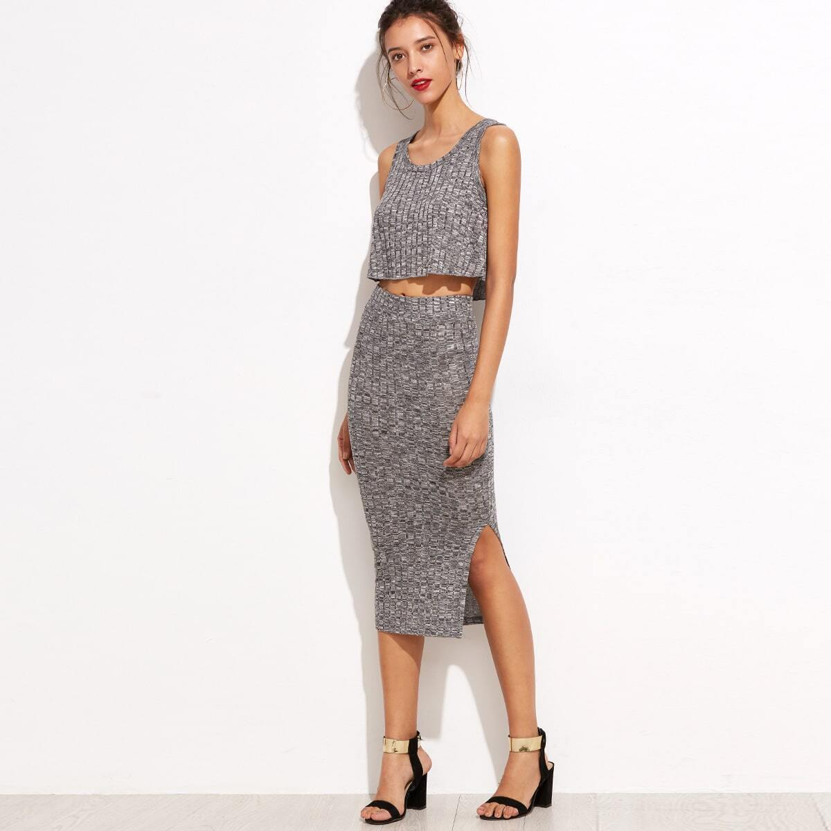 - Marled Knit Crop Top With Split Skirt