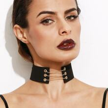 - Metal Chain Tie Back Wide Choker Necklace