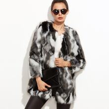 Image of Faux Fur Open Front Fuzzy Coat
