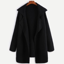 Image of Black Notch Collar Open Front Sweater Coat