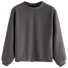 SHEIN | Ribbed Knit Sweatshirt | Goxip
