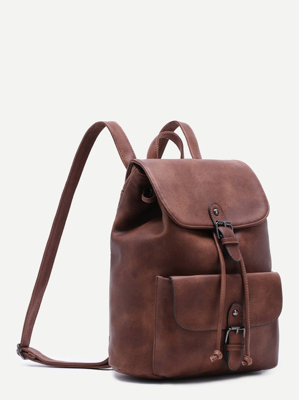 488e729e93 Brown PU Buckle Strap Drawstring Flap Backpack   SHEIN UK