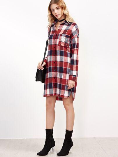 robe chemise en cossais manche enroul e avec poche clout rouge french shein sheinside. Black Bedroom Furniture Sets. Home Design Ideas