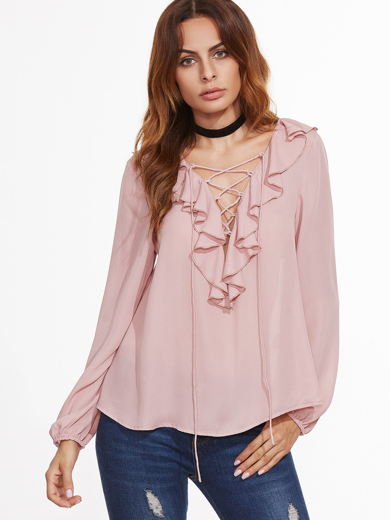 V Neckline Lace Up Frill Trim Blouse Shein In
