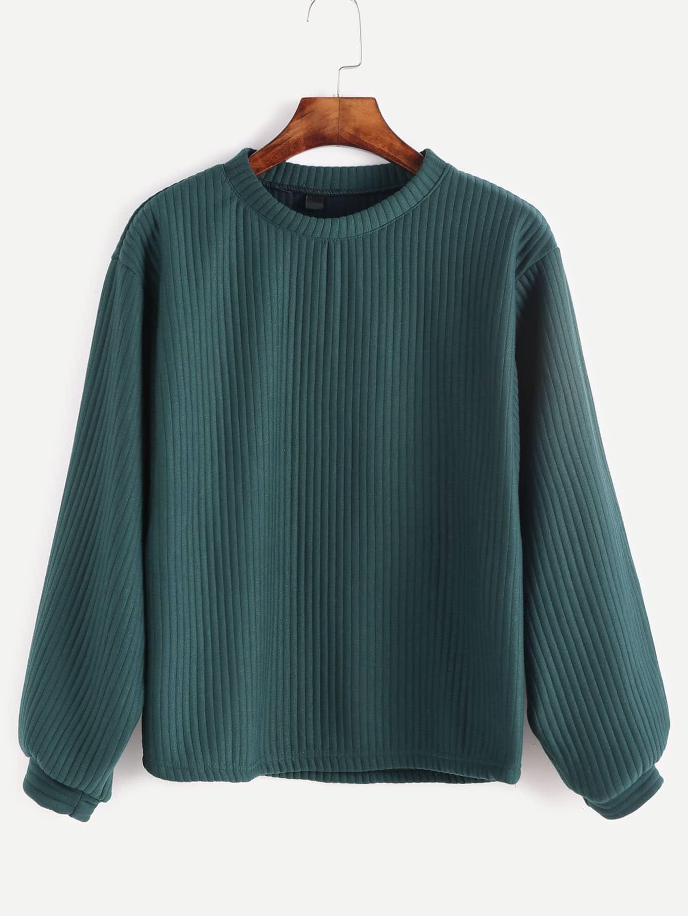 Peacock Green Ribbed Sweatshirt Shein Sheinside