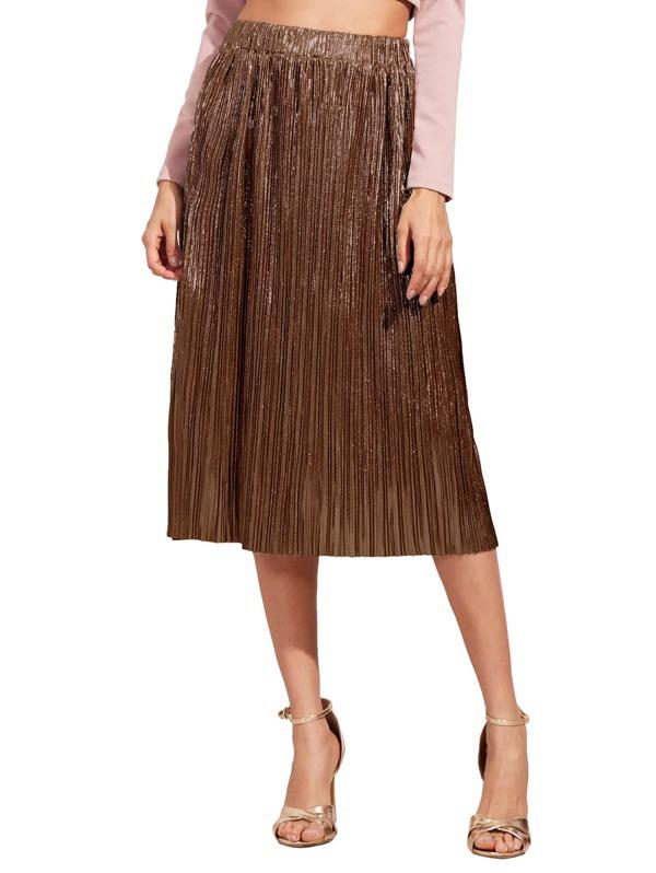737f271c86 Brown Loose Midi Skirt | SHEIN IN