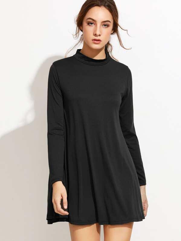 268210a020 Black Mock Neck Shift Dress -SHEIN(SHEINSIDE)