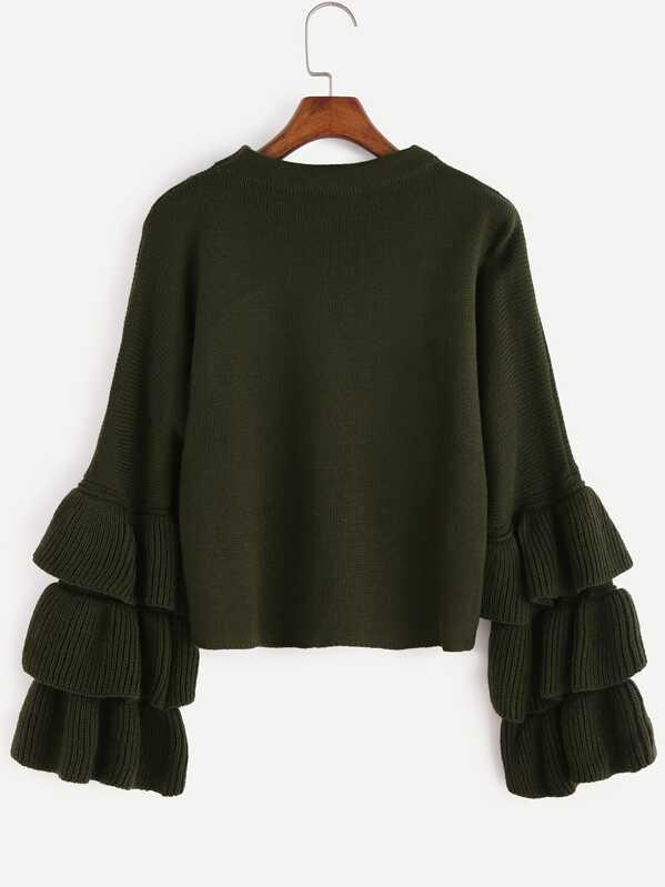 1cb90bbdd0c Tiered Ruffle Sleeve Sweater