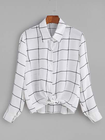Grid Knotted Button Blouse