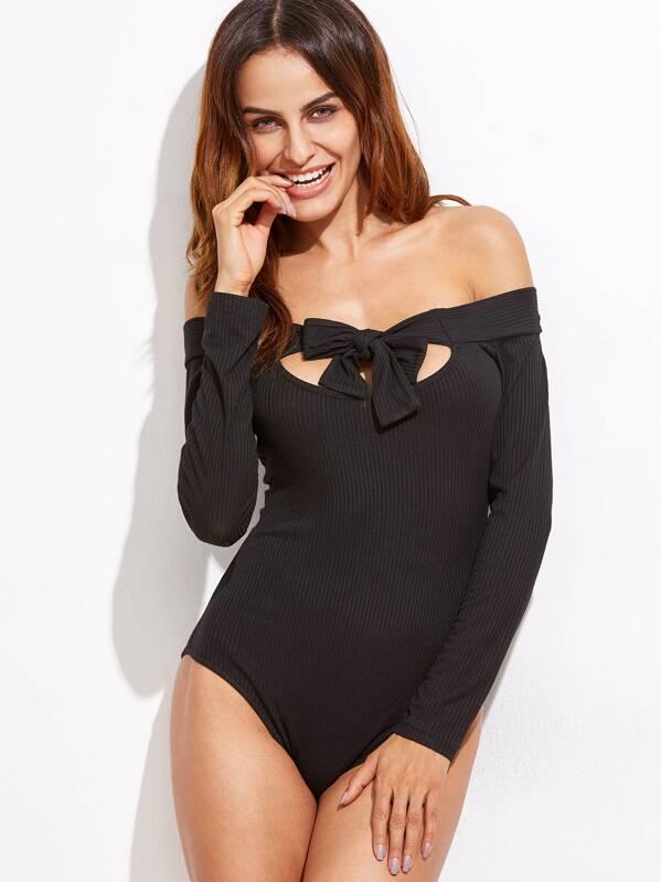 f4b535727541 Black Cutout Tie Front Off The Shoulder Bodysuit   SHEIN