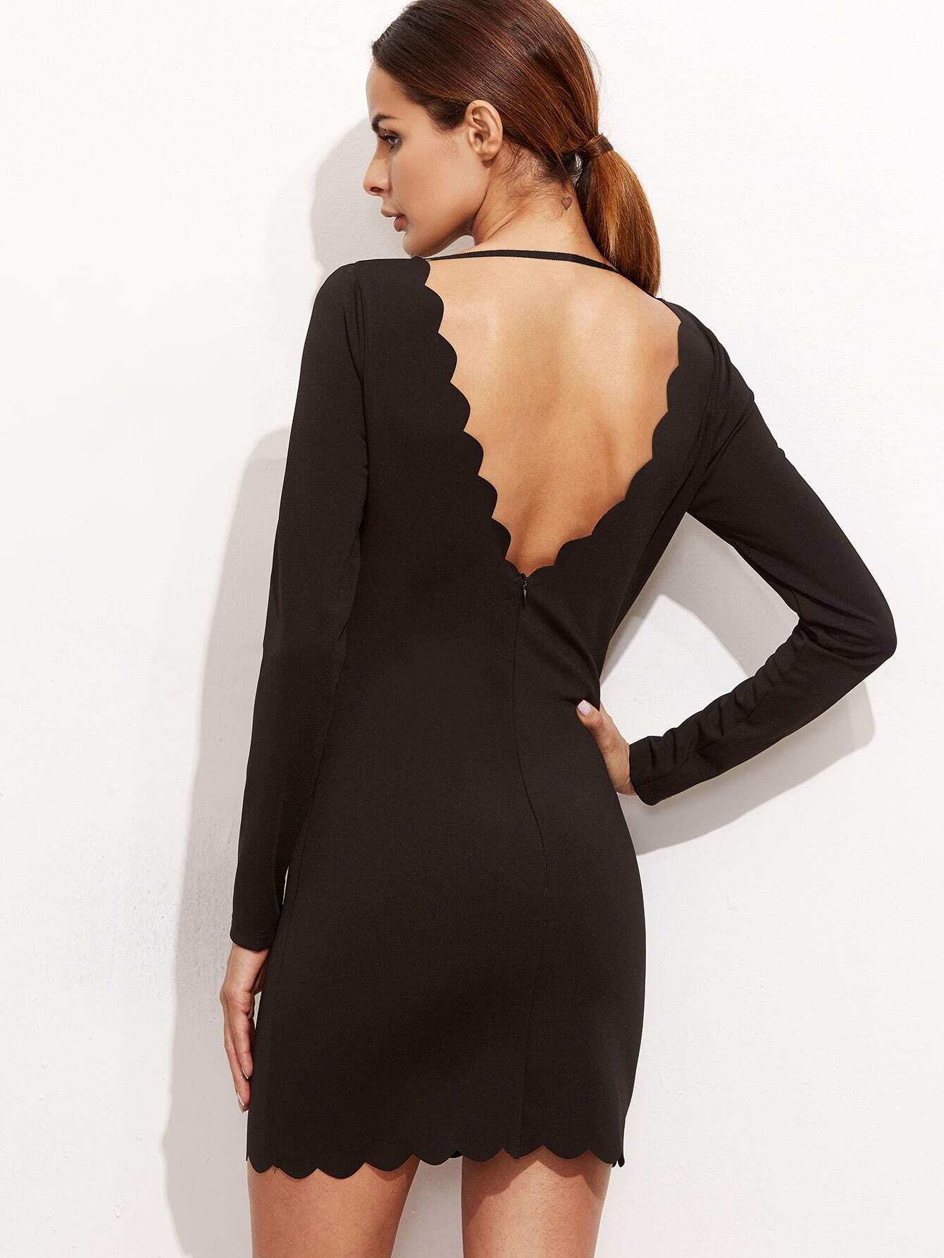 Bodycon Kleid Doppelt V-Ausschnitt -schwarz | SHEIN