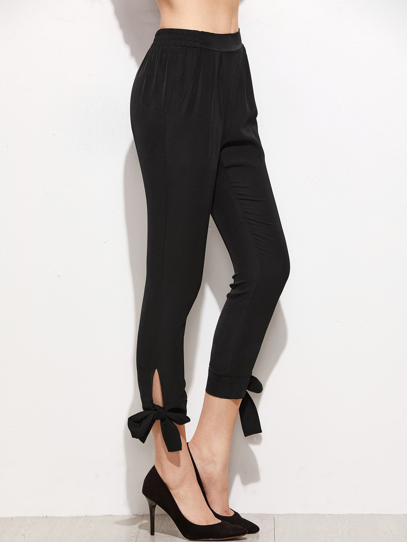 Bow Tie Hem Crop Pants Shein Sheinside