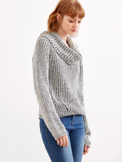 Grey Marled Knit Cowl Neck Multiway Sweater -SheIn(Sheinside)