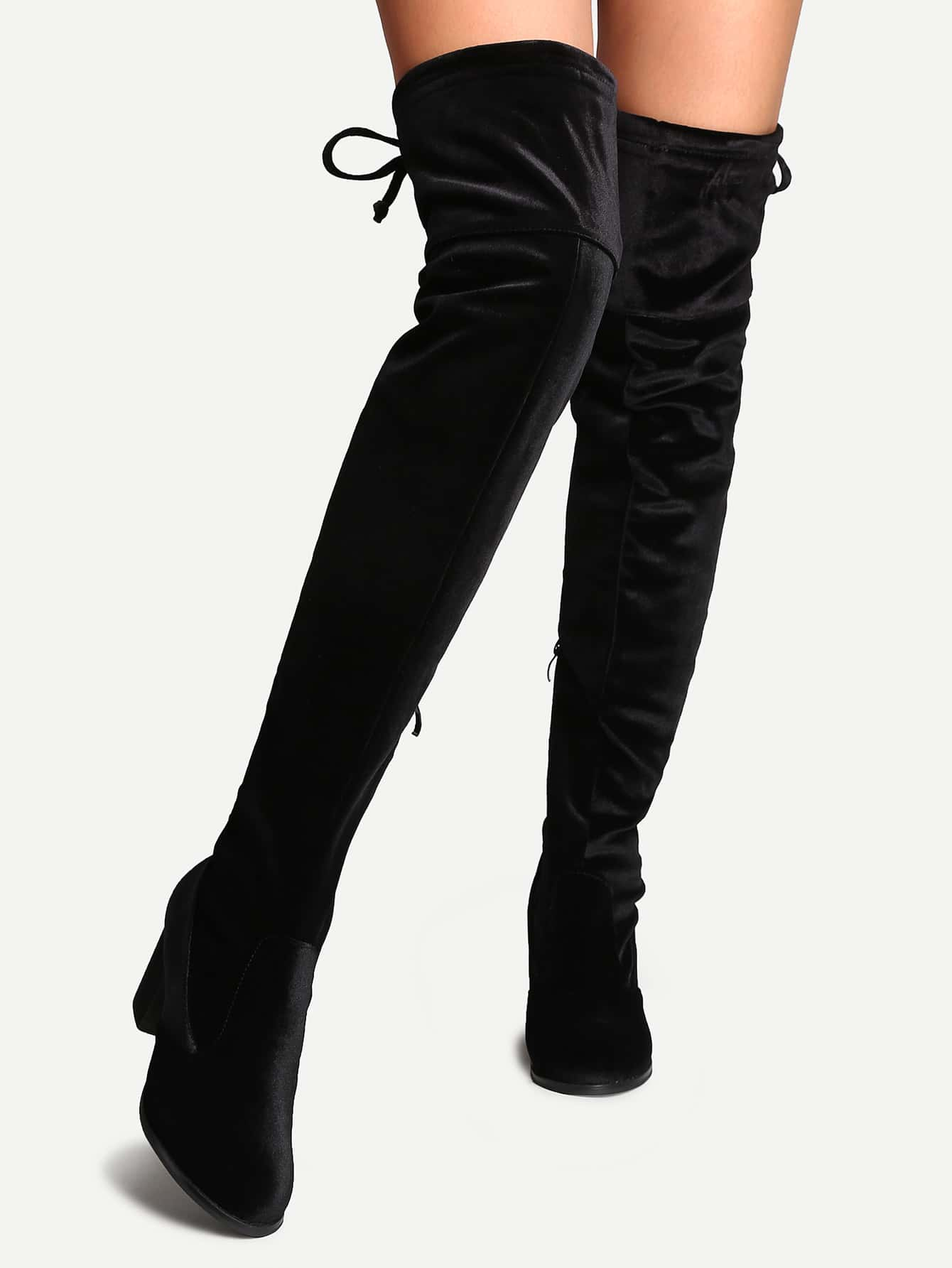 black velvet almond toe tie back thigh high boots shein