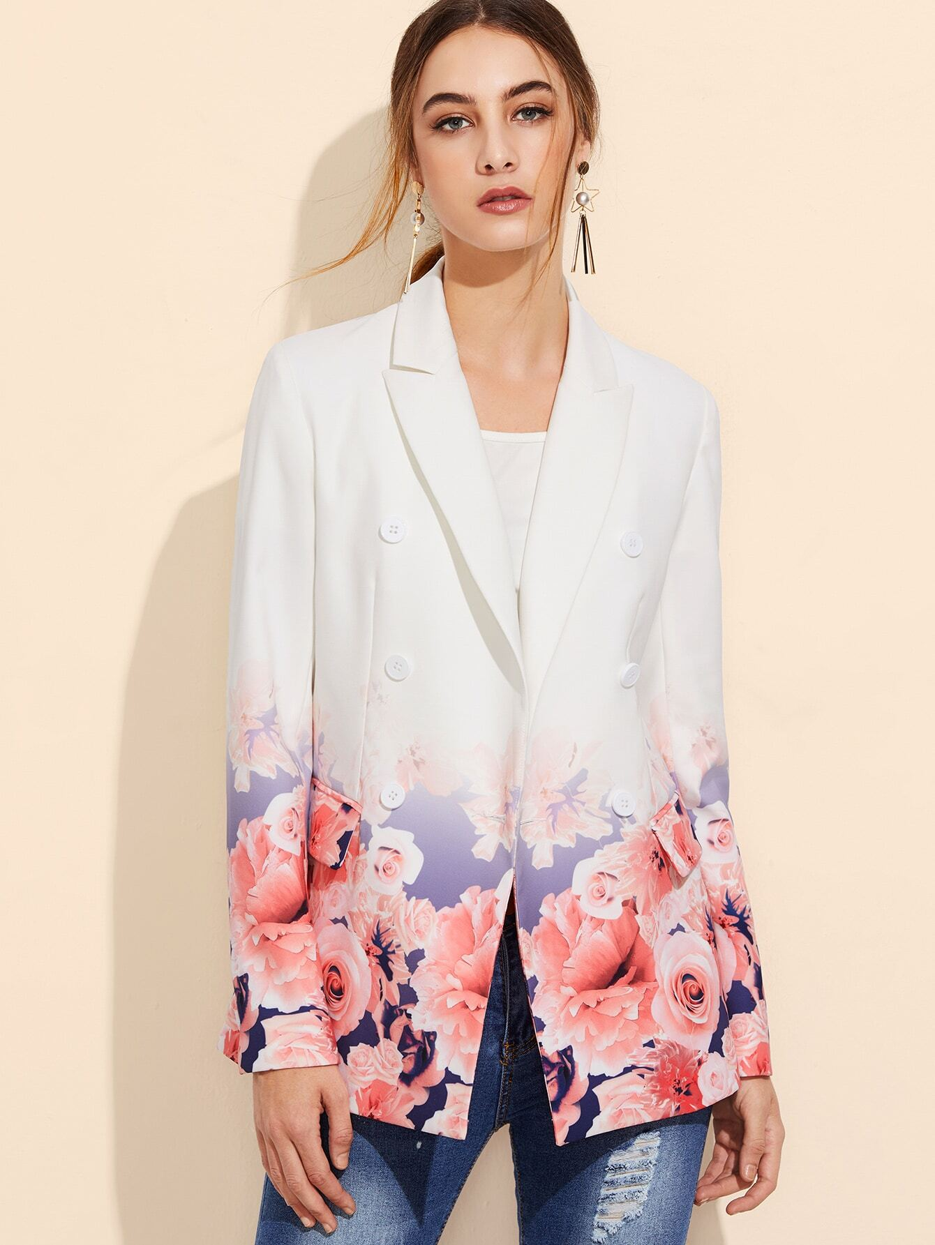 White Rose Print Double Breasted Blazer