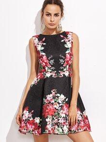 Vestido acampanado de jacquar con estampado floral - negro