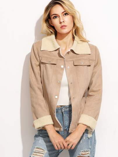 Apricot Faux Shearling Button Up Jacket