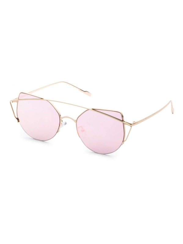 8691e799aaa72 Metal Frame Double Bridge Pink Cat Eye Sunglasses