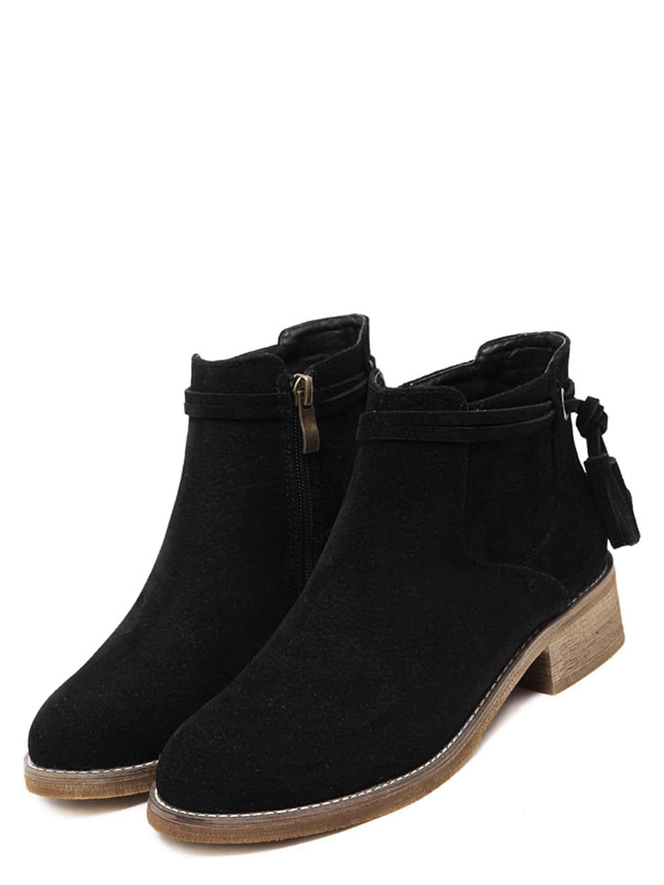 black faux suede distressed tassel cork heel ankle boots