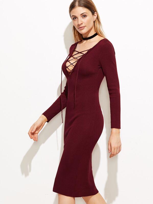 ff756f59f86 Burgundy Deep V Neck Lace Up Sweater Dress