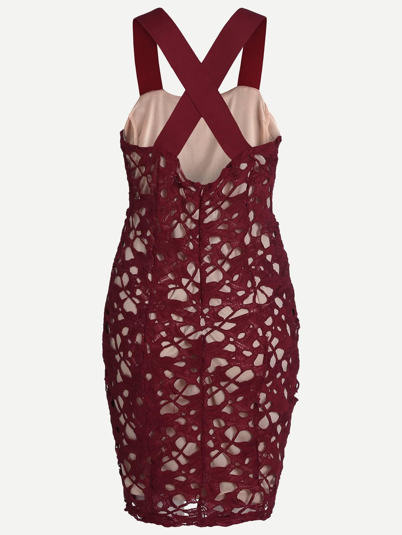 robe soir e avec ruban et dos nu bordeaux rouge french shein sheinside. Black Bedroom Furniture Sets. Home Design Ideas