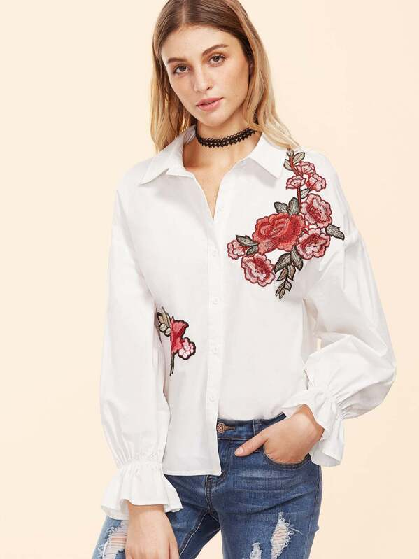 c1a5fb07e93855 Embroidered Ruffle Sleeve Blouse | SHEIN