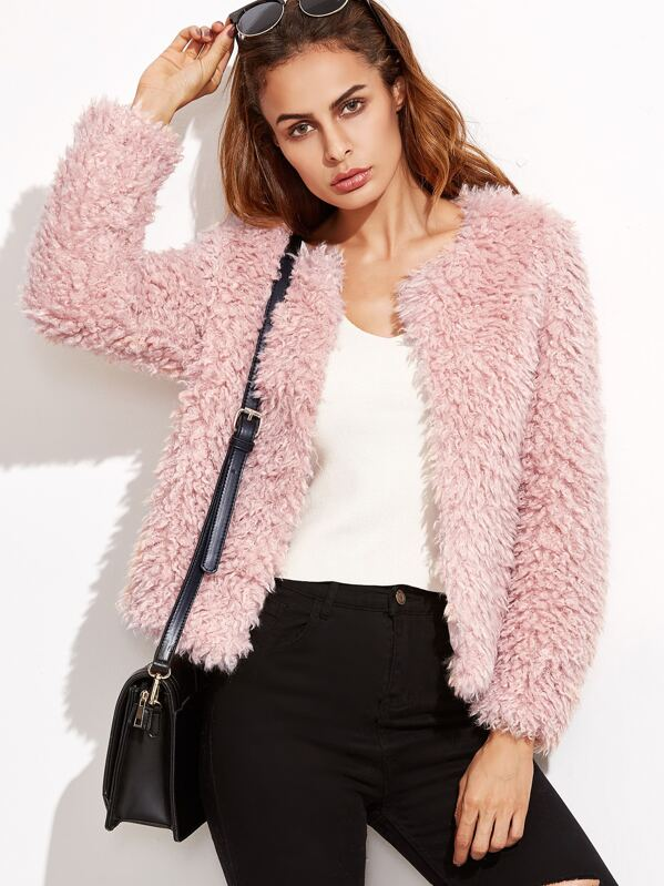 c57845b293 Cheap Faux Fur Fuzzy Open Front Coat for sale Australia   SHEIN