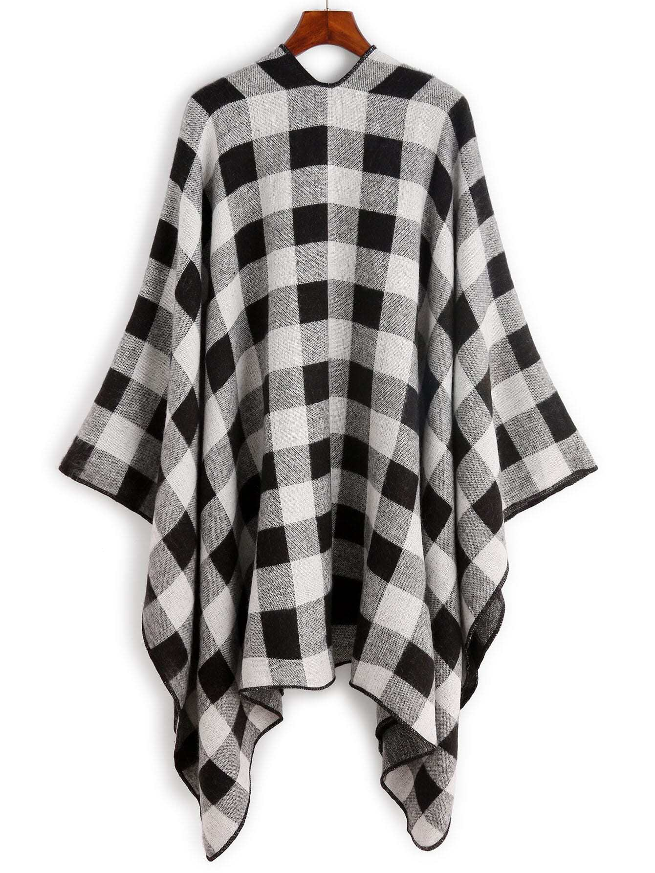 echarpe ch le en tartan noir et blanc french shein sheinside. Black Bedroom Furniture Sets. Home Design Ideas