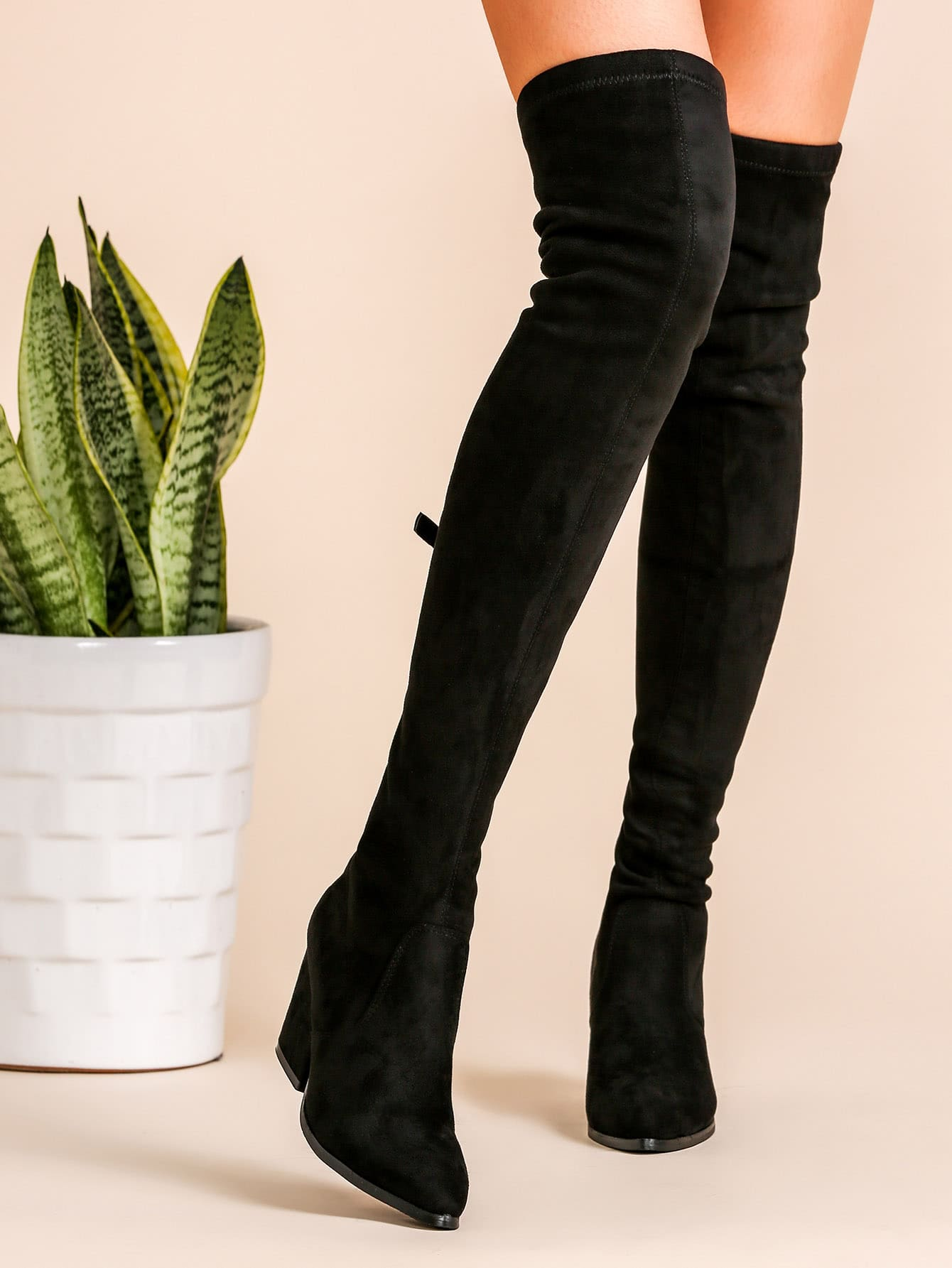 black faux suede point toe back zipper thigh high chunky