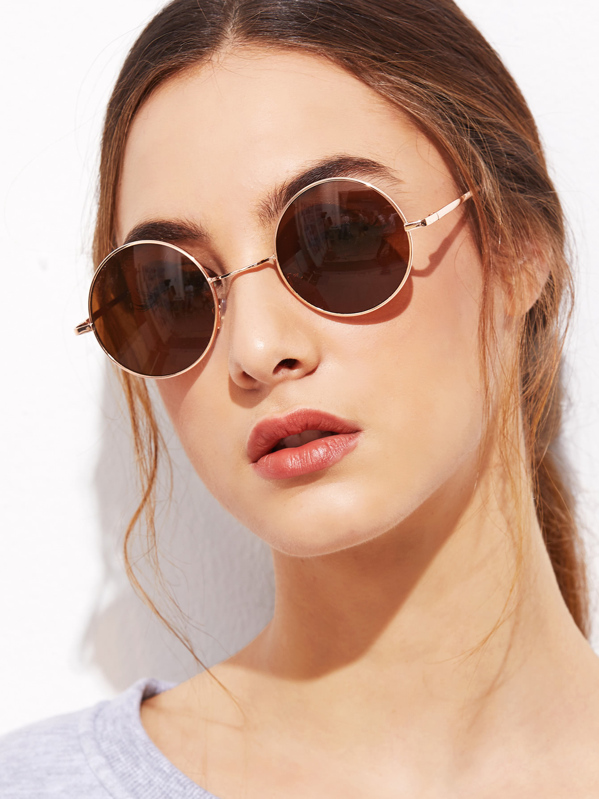 246c8abf80 Gold Frame Brown Round Lens Sunglasses | SHEIN IN