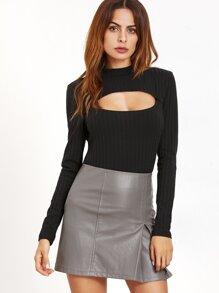 Camiseta con abertura - negro