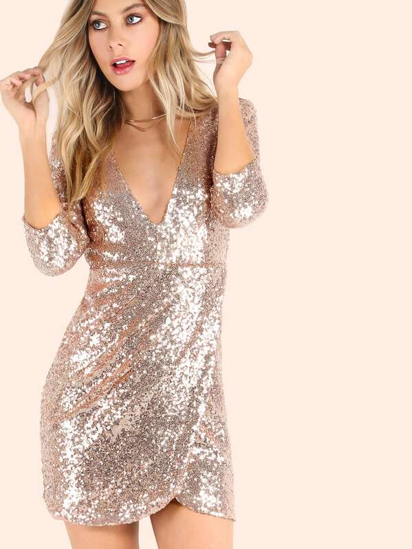 e104336a78 3/4 Sleeve Plunging V Wrap Sequin Dress ROSE GOLD