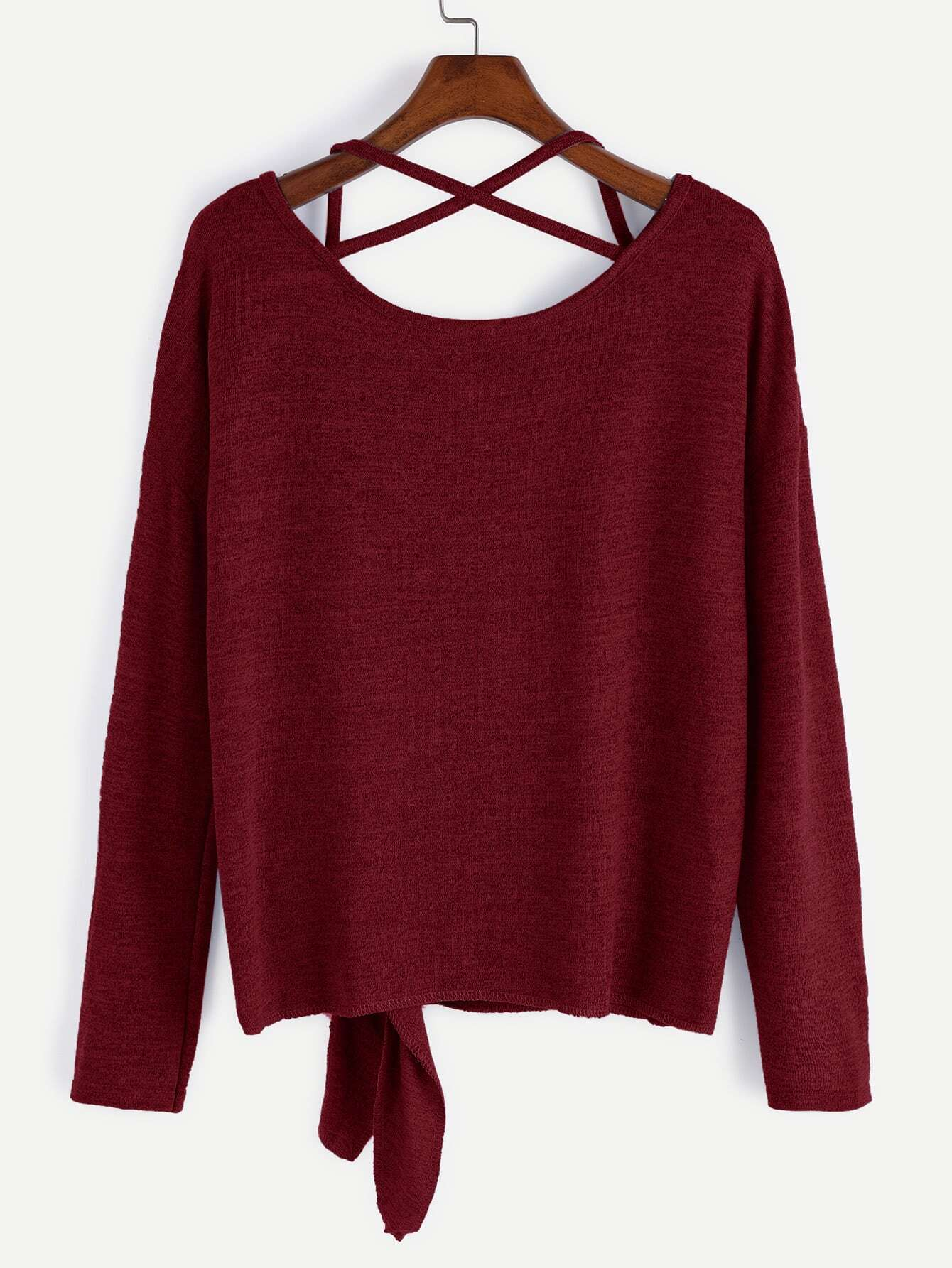 Burgundy Drop Shoulder Criss Cross Tie Front T-Shirt