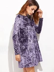 e7db030cdba1 Purple Crushed Velvet Swing Dress