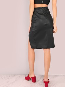 5846cff846 Faux Leather PU Double Slit Pencil Skirt BLACK | SHEIN