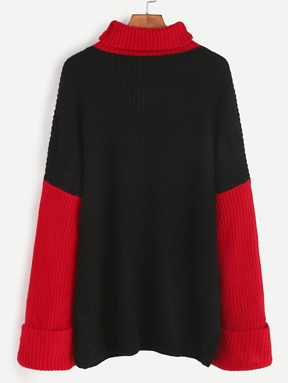 Contrast Turtleneck Drop Shoulder Roll Sleeve Sweater