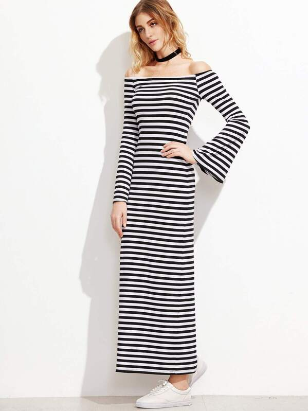 Black And White Striped Off The Shoulder Bell Sleeve Dress Shein
