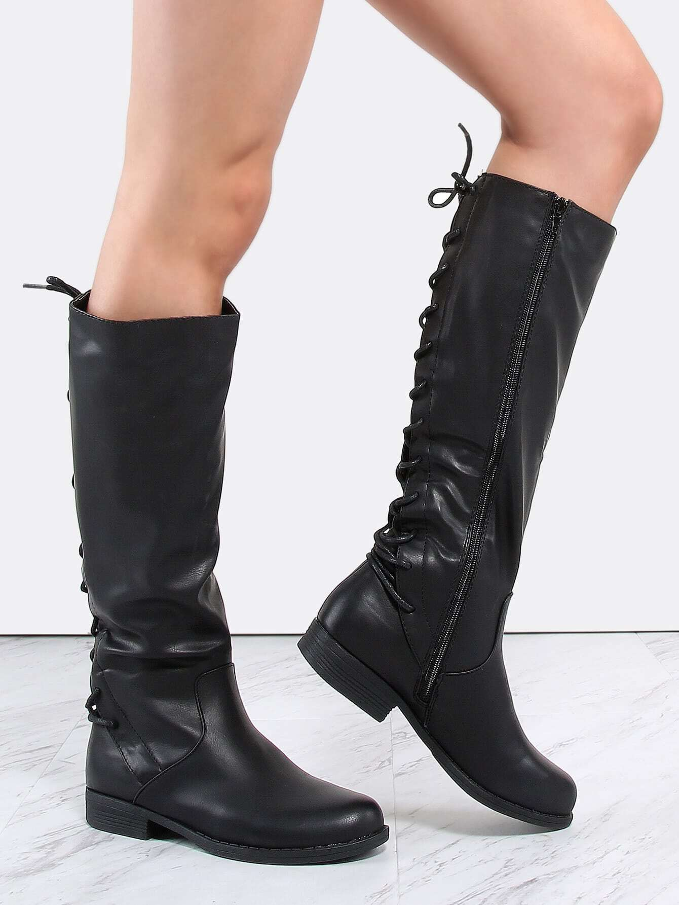 lace up flat boots black shein sheinside