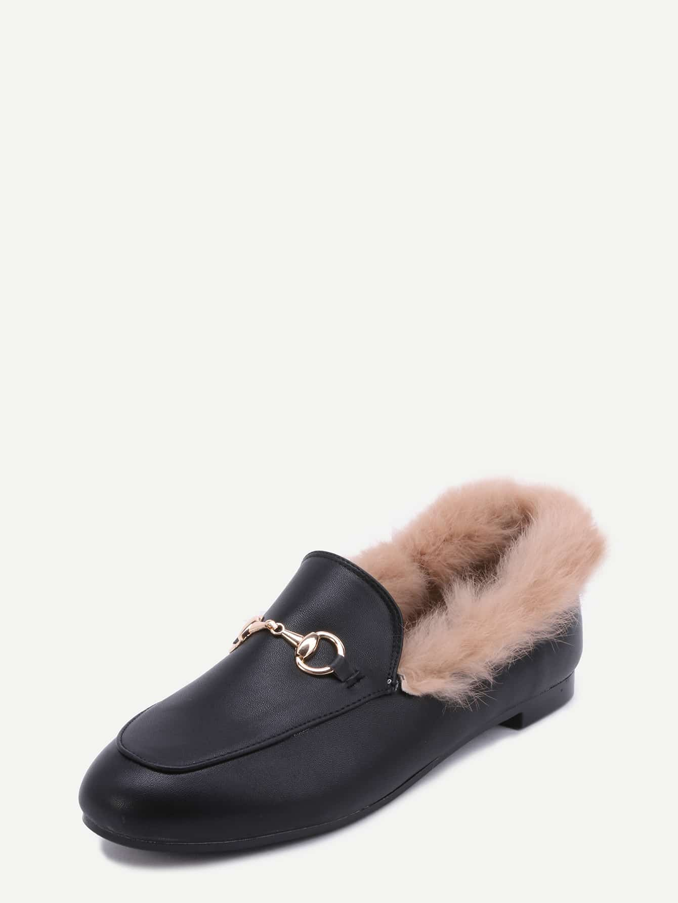 Black PU Fur Lined Loafers -SheIn(Sheinside)