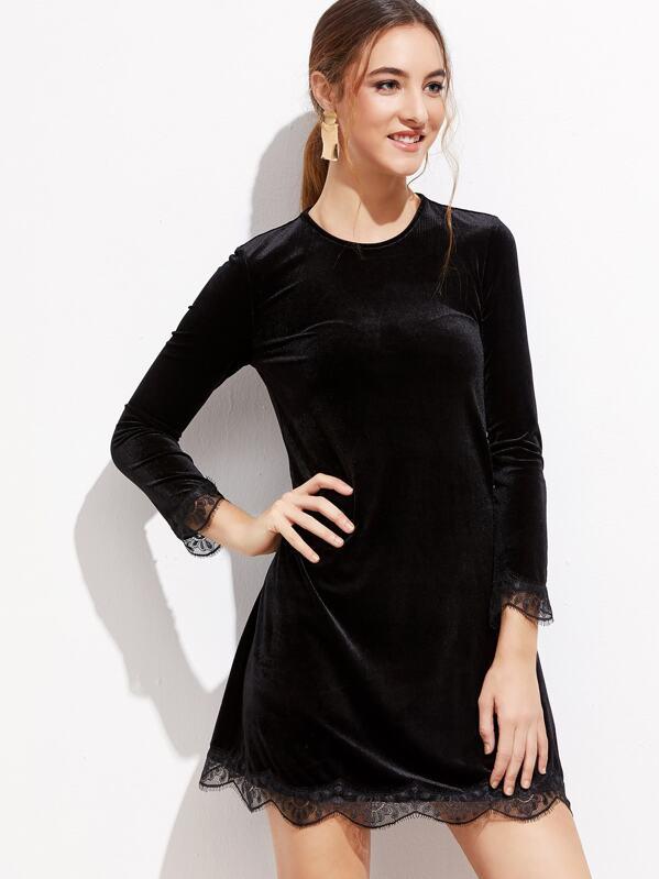 a76d80af36 Vestido de terciopelo con ribete de encaje - negro