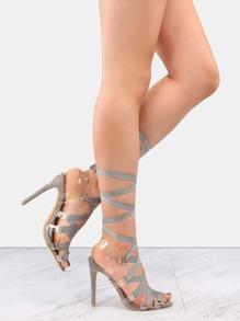 95df722bd31 Flat Ribbon Transparent Lace Up Heels GRAY -SheIn(Sheinside)