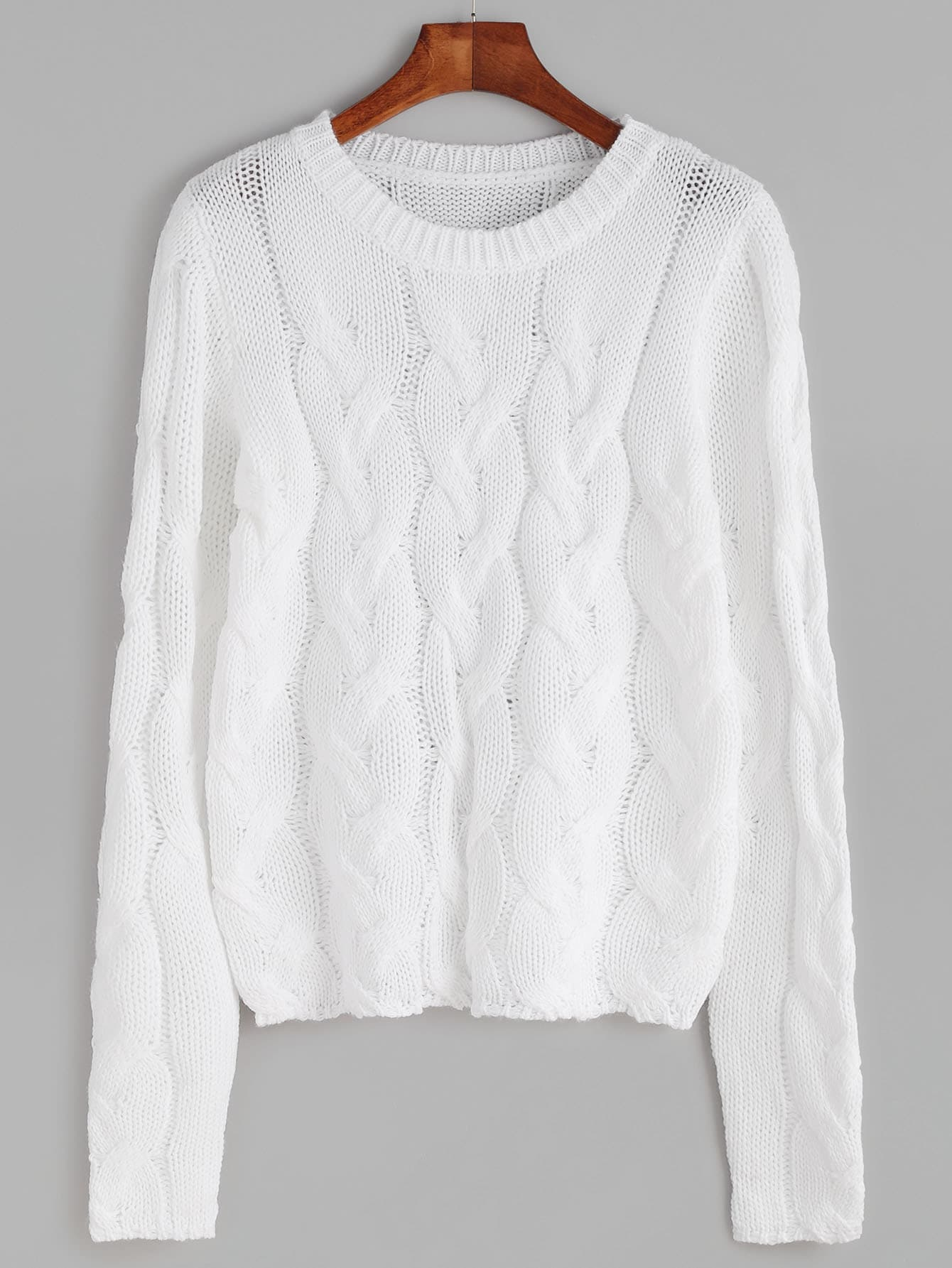 White Cable Knit Pullover Sweater Shein