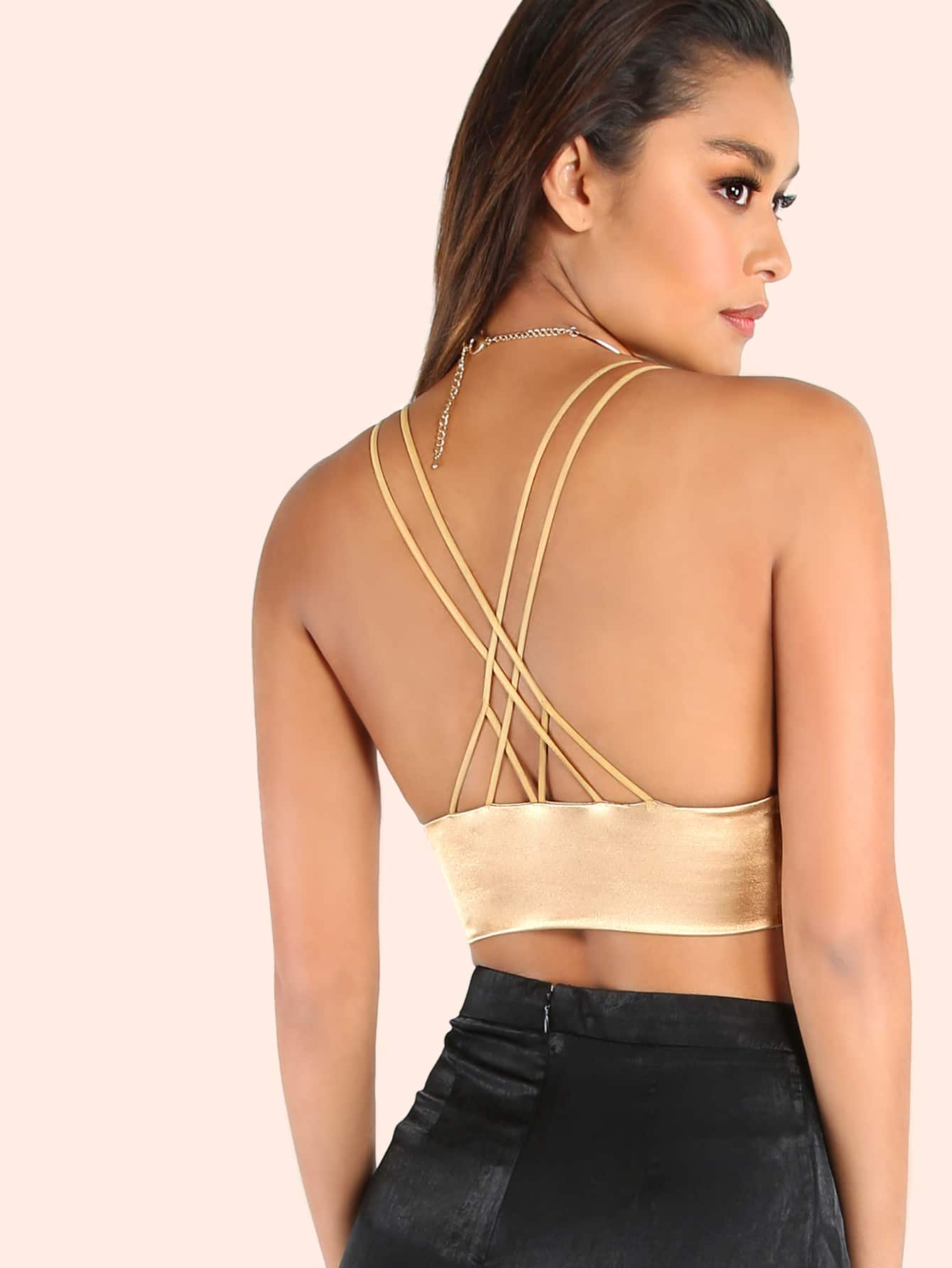 bf9de99d23f685 Cheap Metallic Strappy Bralette GOLD for sale Australia