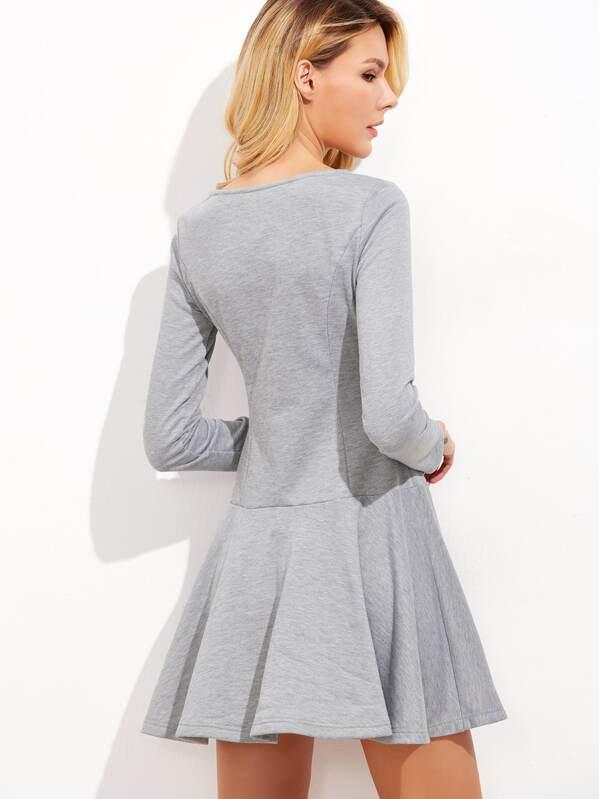 306824f959e9 Heather Grey Long Sleeve Drop Waist Skater Dress