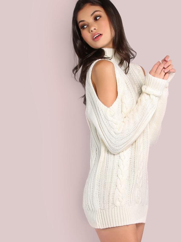 20b7644d2a3f Cheap Cold Shoulder Turtleneck Knit Sweater Dress IVORY for sale Australia  | SHEIN